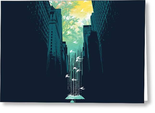 I want my blue sky Greeting Card by Budi Kwan