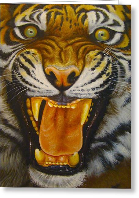 Chinese Tiger Greeting Cards - I Want My Morning Coffee Greeting Card by Tim G Ross