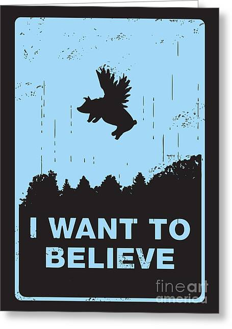 Typography Greeting Cards - I want to believe Greeting Card by Budi Kwan