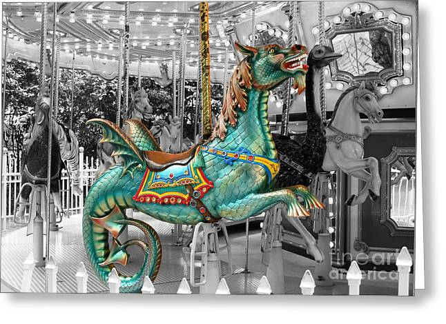 Carosel Greeting Cards - I Want to Ride the Seahorse Greeting Card by Sabrina L Ryan