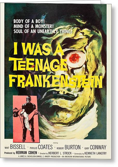Home Theater Greeting Cards - I Was A Teenage Frankenstein Greeting Card by MMG Archives