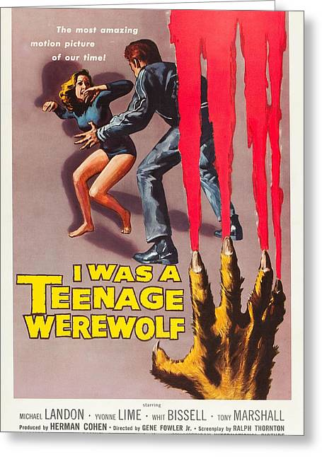 Home Theater Greeting Cards - I Was A Teenage Werewolf Greeting Card by MMG Archives