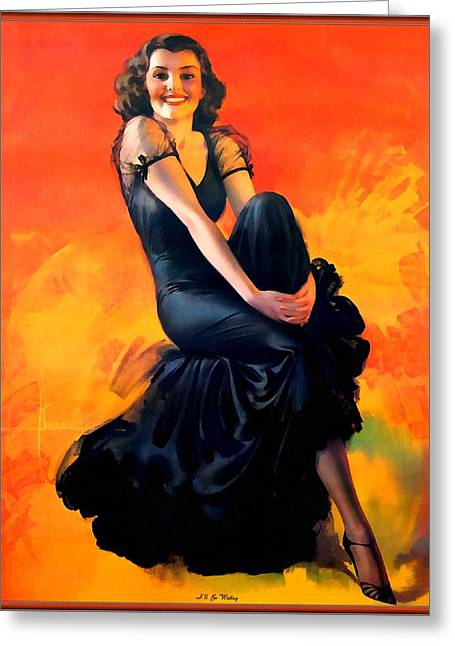 Pin-up Model Greeting Cards - I Will Be Waiting Pin Up Model Greeting Card by Rolf Armstrong