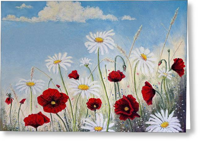 Stanza Widen Greeting Cards - I Will Give You a Daisy Greeting Card by Stanza Widen