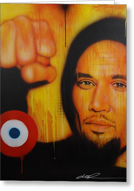 Ben Harper Greeting Cards - I Will Look the World Straight in the Eye Greeting Card by Christian Chapman Art