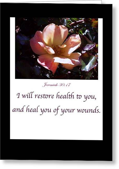 Jeremiah Mixed Media Greeting Cards - I Will Restore Health To You Greeting Card by For The Love Of Art