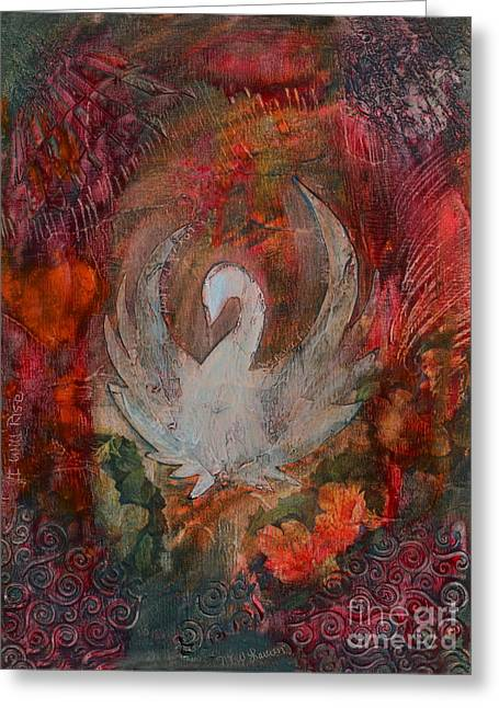 Wax Mixed Media Greeting Cards - I Will Rise Greeting Card by Nancy TeWinkel Lauren