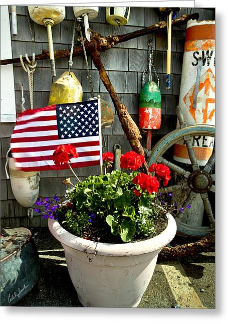 Harbor Sesuit Harbor Greeting Cards - I Will Take One Flag With Everything Greeting Card by Carl Jacobs