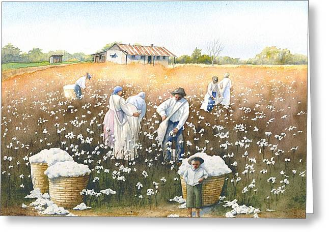 """""""cotton Pickers"""" Greeting Cards - I Wish It Were Snow Greeting Card by Brenda Beck Fisher"""
