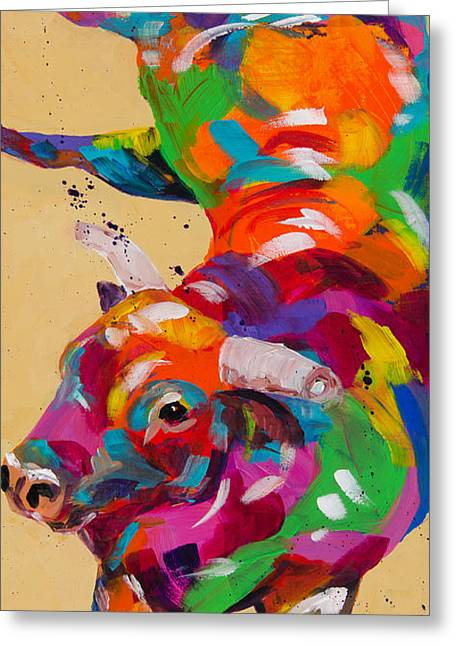 Brahma Bull Greeting Cards - I Won Greeting Card by Tracy Miller