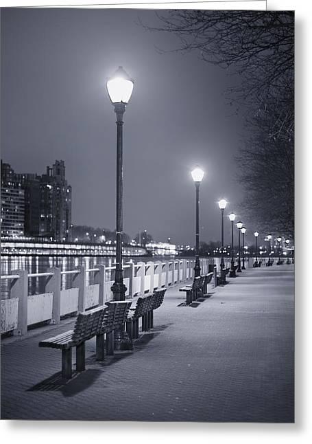 Empty Park Bench Greeting Cards - I Wonder As I Wander Greeting Card by Evelina Kremsdorf