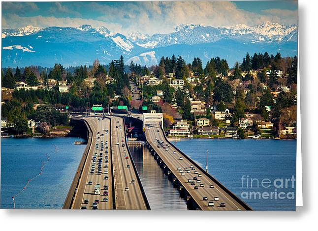 I90 Bridge Greeting Card by Inge Johnsson