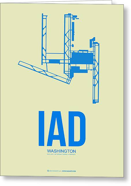 D Greeting Cards - IAD Washington Airport Poster 1 Greeting Card by Naxart Studio