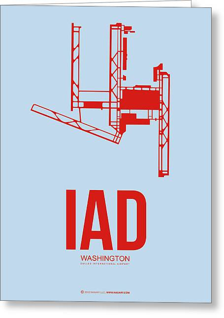 D Greeting Cards - IAD Washington Airport Poster 2 Greeting Card by Naxart Studio