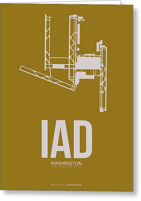 D Greeting Cards - IAD Washington Airport Poster 3 Greeting Card by Naxart Studio