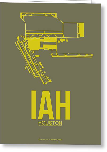Houston Greeting Cards - IAH Houston Airport Poster 2 Greeting Card by Naxart Studio