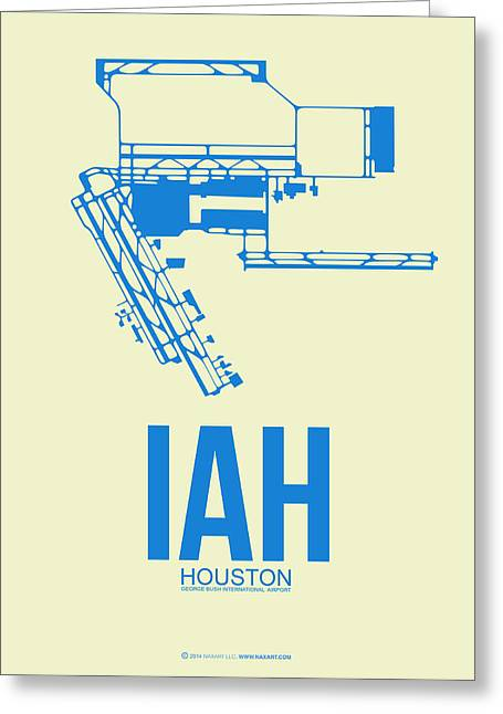 Celebrate Greeting Cards - IAH Houston Airport Poster 3 Greeting Card by Naxart Studio