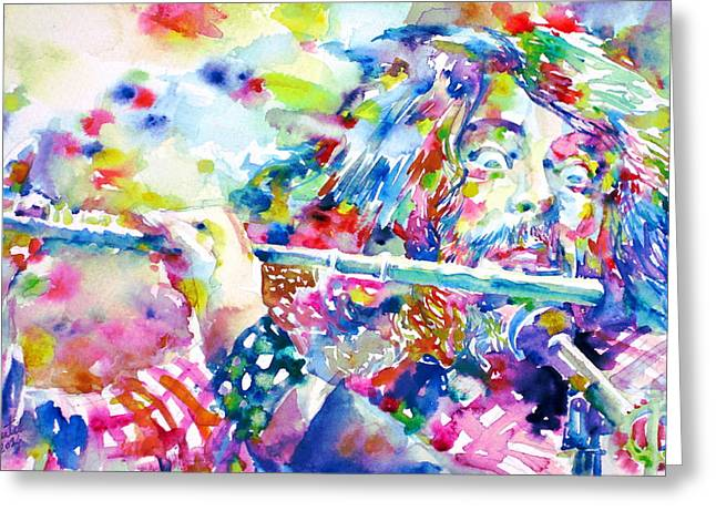 Flautist Greeting Cards - IAN ANDERSON-JETHRO TULL- watercolor portrait Greeting Card by Fabrizio Cassetta