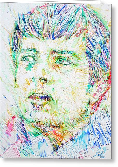 Division Drawings Greeting Cards - IAN CURTIS portrait Greeting Card by Fabrizio Cassetta