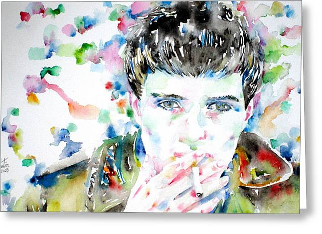 Trenches Paintings Greeting Cards - Ian Curtis Smoking Cigarette Watercolor Portrait Greeting Card by Fabrizio Cassetta
