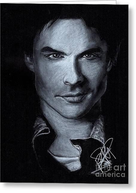 Charcoal Portrait Greeting Cards - Ian Somerhalder Greeting Card by Rosalinda Markle