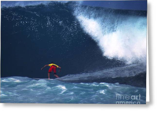 Surfing Photos Greeting Cards - Ian Walsh Pro Surfer No Fear Greeting Card by Scott Cameron