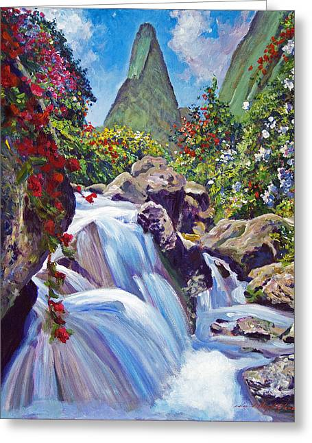 ; Maui Paintings Greeting Cards - Iao Needle Maui Greeting Card by David Lloyd Glover