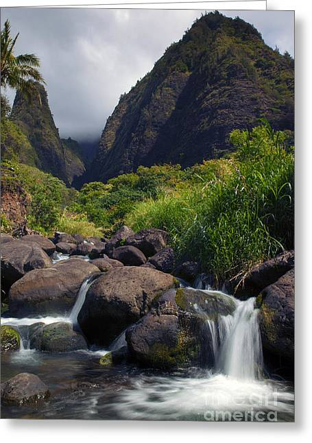 Stream Greeting Cards - Iao  Storm Greeting Card by Mike  Dawson