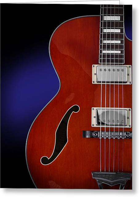 Oarange Greeting Cards - Ibanez AF75 Hollowbody Electric Guitar Front View Greeting Card by John Cardamone