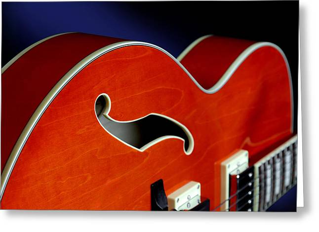 Oarange Greeting Cards - Ibanez AF75D Hollowbody Guitar in Transparent Orange Detail Greeting Card by John Cardamone