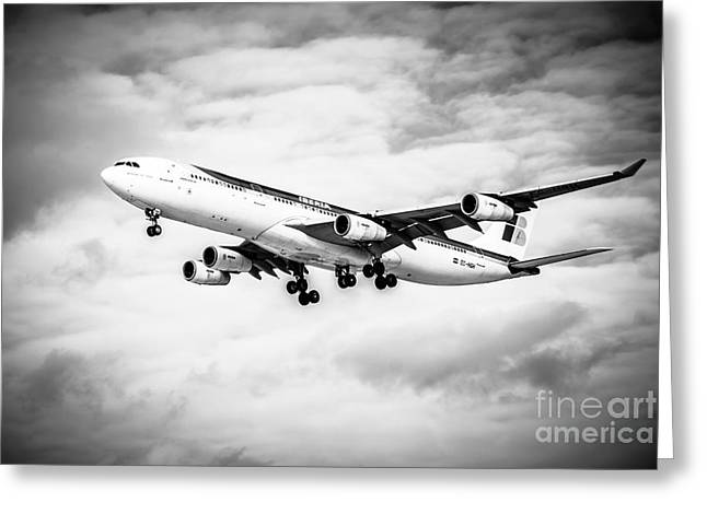 Passenger Planes Greeting Cards - Iberia Airlines Airbus A340 Airplane in Black and White Greeting Card by Paul Velgos