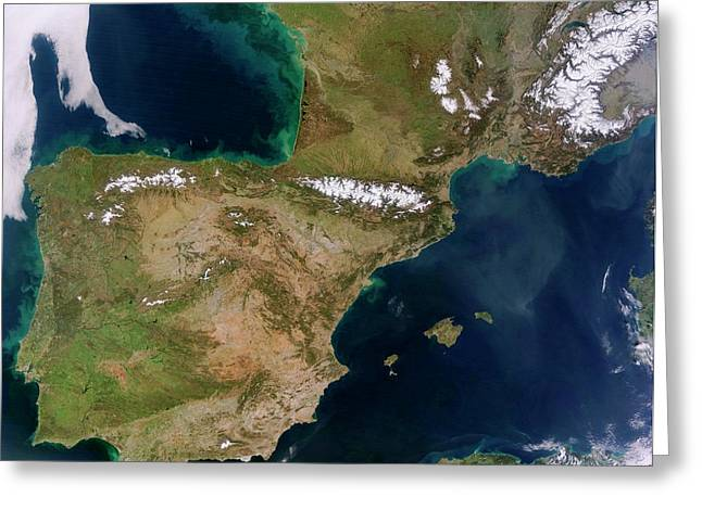 Iberian Peninsula Greeting Card by Jeff Schmaltz, Lance/eosdis Modis Rapid Response Team At Nasa Gsfc
