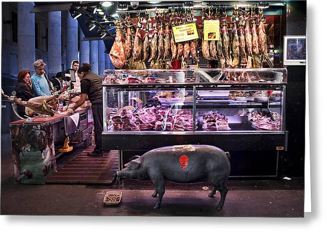 Gastronomy Greeting Cards - Iberico Ham shop in La Boqueria Market in Barcelona Greeting Card by David Smith