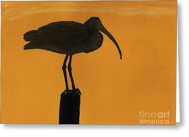 Skylines Pastels Greeting Cards - Ibis - Silhouette Greeting Card by D Hackett
