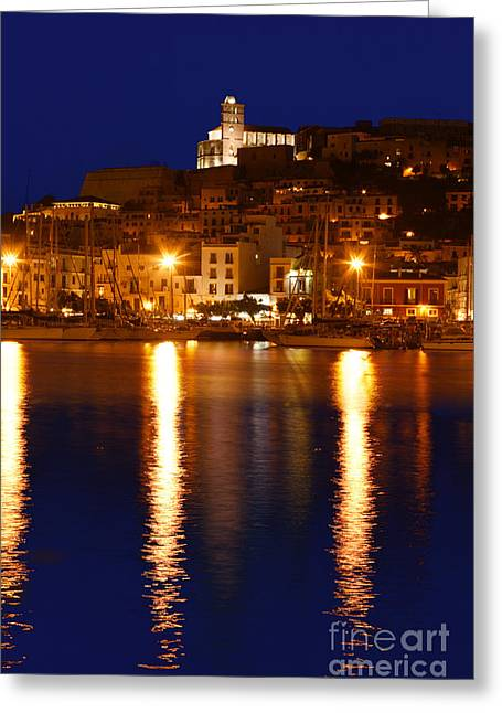Dalt Greeting Cards - Ibiza old town at night Greeting Card by Rosemary Calvert