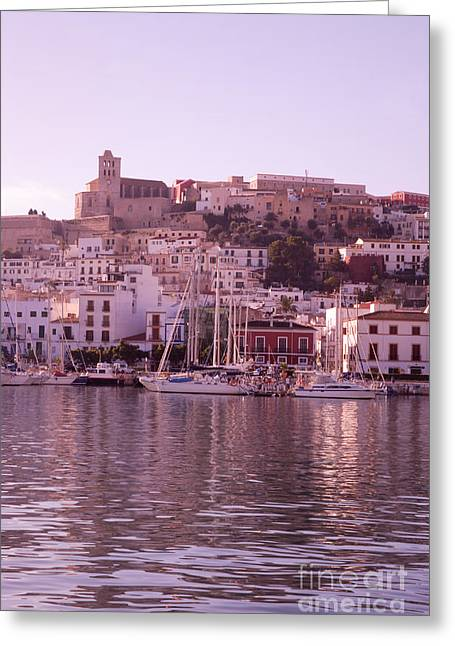 Dalt Greeting Cards - Ibiza old town in early morning light Greeting Card by Rosemary Calvert