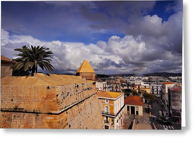 Dalt Greeting Cards - Ibiza Town Walls Greeting Card by Karol Kozlowski