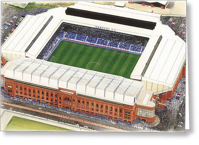 Art Mobile Greeting Cards - Ibrox - Glasgow Rangers Greeting Card by Kevin Fletcher
