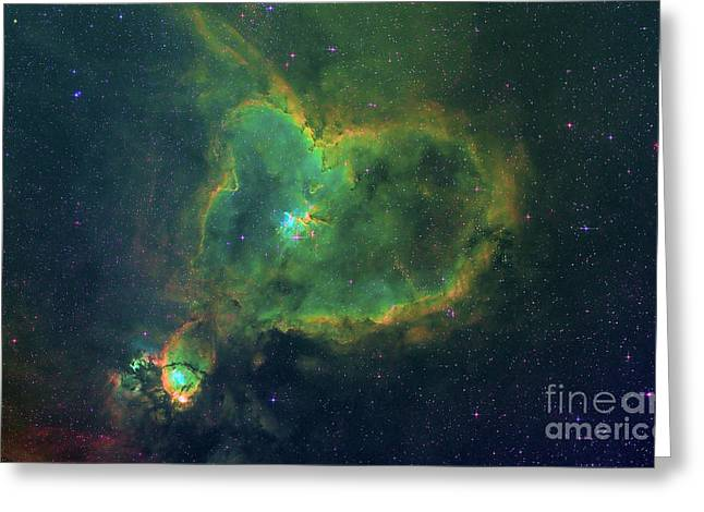 Heart Nebula Greeting Cards - Ic 1805 The Heart Nebula Greeting Card by Celestial Images