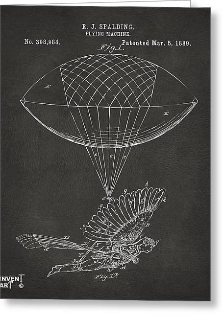 J. R. R. Greeting Cards - Icarus Airborn Patent Artwork Gray Greeting Card by Nikki Marie Smith