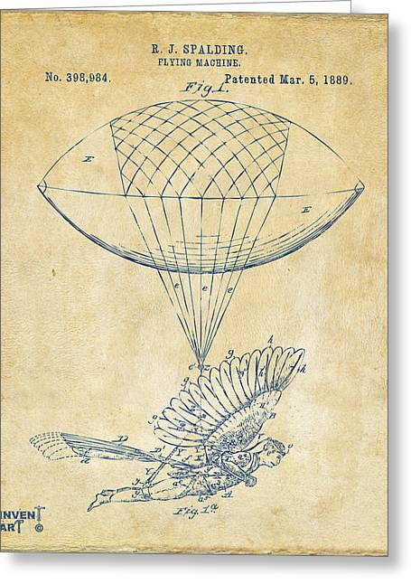 J. R. R. Greeting Cards - Icarus Airborn Patent Artwork Vintage Greeting Card by Nikki Marie Smith