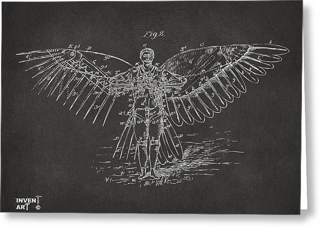 Angel Blues Greeting Cards - Icarus Flying Machine Patent Artwork Gray Greeting Card by Nikki Marie Smith