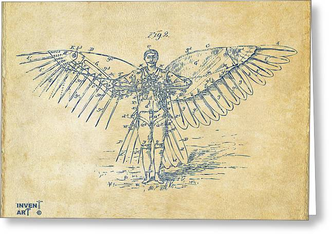 J. R. R. Greeting Cards - Icarus Flying Machine Patent Artwork Vintage Greeting Card by Nikki Marie Smith