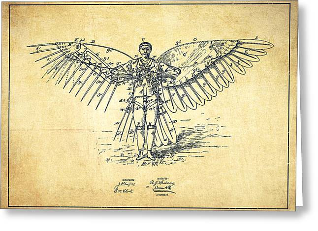 Right Wing Greeting Cards - Icarus Flying machine Patent Drawing-Vintage Greeting Card by Aged Pixel
