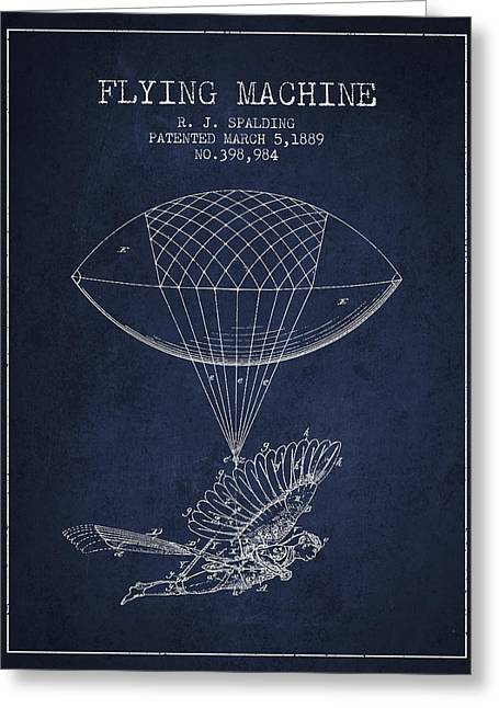 Right Wing Greeting Cards - Icarus Flying machine Patent from 1889 Greeting Card by Aged Pixel