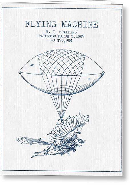Right Wing Greeting Cards - Icarus Flying machine Patent from 1889- Blue Ink Greeting Card by Aged Pixel