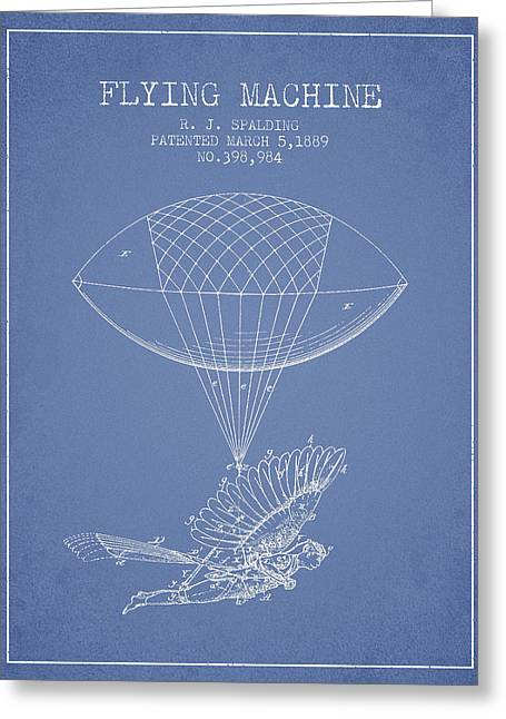Right Wing Greeting Cards - Icarus Flying machine Patent from 1889 - Light Blue Greeting Card by Aged Pixel