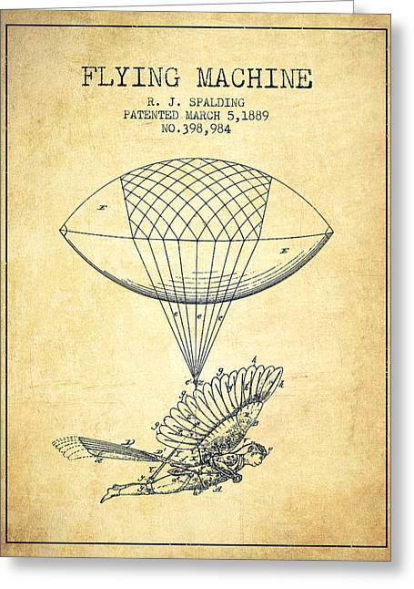 Technical Greeting Cards - Icarus Flying machine Patent from 1889 - Vintage Greeting Card by Aged Pixel