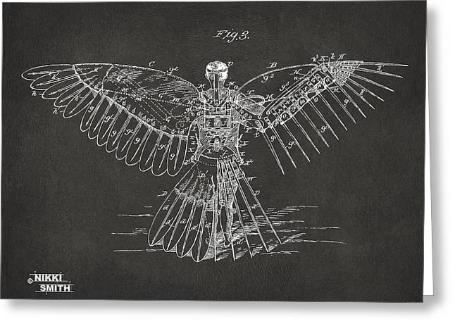 J. R. R. Greeting Cards - Icarus Human Flight Patent Artwork - Gray Greeting Card by Nikki Marie Smith