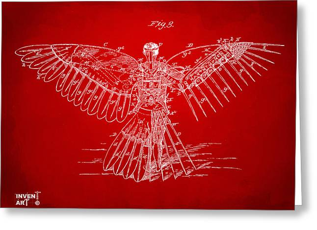 Angel Blues Greeting Cards - Icarus Human Flight Patent Artwork Red Greeting Card by Nikki Marie Smith